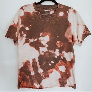 Golden Brown Tie Dye Bleached T-Shirt